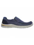 Mocasín Skechers Relaxed Fit modelo 65195 color NVY lateral exterior