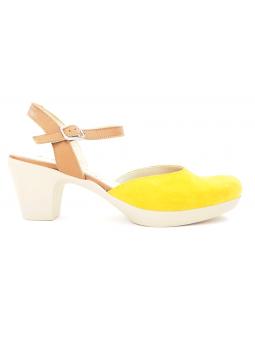 Zapato de salón Lince modelo 83719 color ocre-cuero, vista lateral