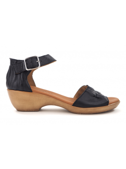 Sandalia con cuña SERGIOTTI modelo N6-566 color Negro, vista lateral exterior