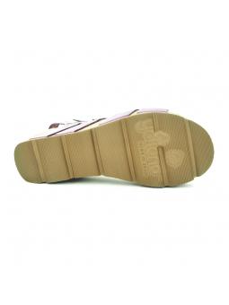 Sandalia con plataforma YOKONO modelo BARI 002 color morado, vista de la suela