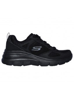 Zapatillas SKECHERS RELAXED FIT 13310 con cuña, color negro BBK, vista lateral interior