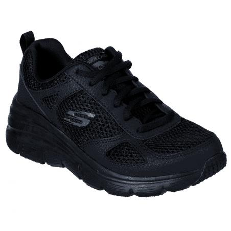 Zapatillas SKECHERS RELAXED FIT 13310 con cuña, color negro BBK