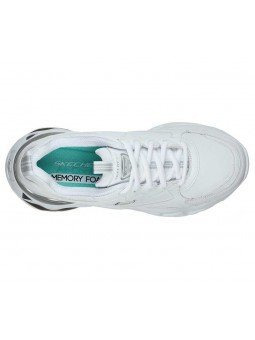 Zapatilla Skechers D'Lites 3.0 Air Golden Rules , modelo 149088, color blanco WSL, vista aerea