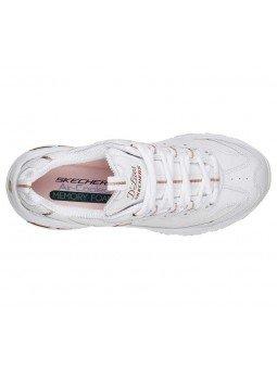 Zapatillas Skechers D´Lites Fresh Strat, modelo 11931, color blanco WTRG, vista aerea