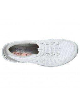 Zapatillas Skechers Sport Active Gratis Comfy, modelo 104031, color blanco WHT, vista aerea