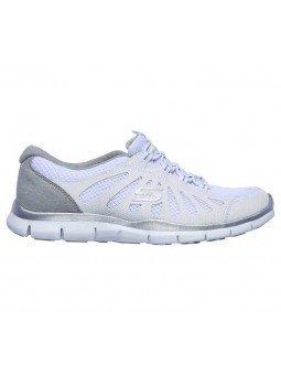 Zapatillas Skechers Sport Active Gratis Comfy, modelo 104031, color blanco WHT, lateral exterior