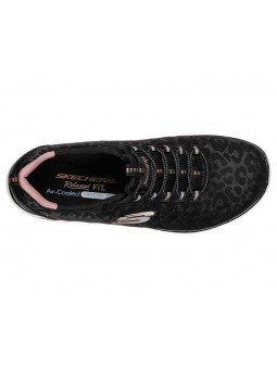 Zapatillas Skechers Relaxed Fit Empire D'Lux Spotted, modelo 12825, color negro BKRG, vista aerea