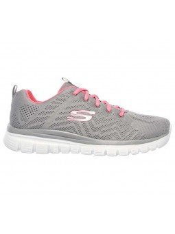 Zapatilla Skechers Online Graceful Get Connected, modelo 12615, color gris GYCL, lateral exterior