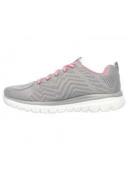 Zapatilla Skechers Online Graceful Get Connected, modelo 12615, color gris GYCL, lateral interior