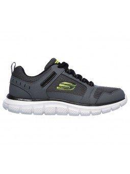Zapatillas Skechers Online Sport Track Knockhill, modelo 232001, color gris CCBK, lateral exterior