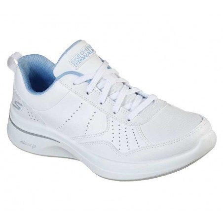Zapatilla Skechers Online Performance Go Walk Steady, modelo 124111, color blanco WBL