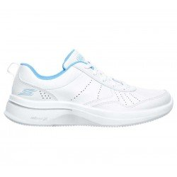 Zapatilla Skechers Online Performance Go Walk Steady, modelo 124111, color blanco WBL, lateral exterior