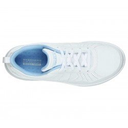 Zapatilla Skechers Online Performance Go Walk Steady, modelo 124111, color blanco WBL, vista aerea