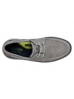 Náutico Skechers Classic Fit Status 2.0 Lorano, modelo 65908, color marino LTGY, vista aerea