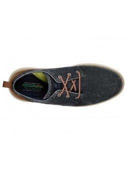 Compra zapatos Skechers Classic Fit Status 2.0 Pexton, modelo 65910, color marino NVY, vista aerea