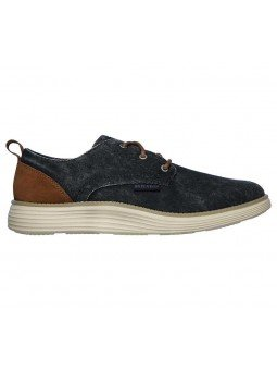 Compra zapatos Skechers Classic Fit Status 2.0 Pexton, modelo 65910, color marino NVY, lateral exterior