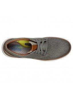 Zapatos Skechers Classic Fit Moreno Ederson, modelo 65981, color taupe TPE, vista aerea
