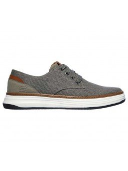Zapatos Skechers Classic Fit Moreno Ederson, modelo 65981, color taupe TPE, lateral exterior