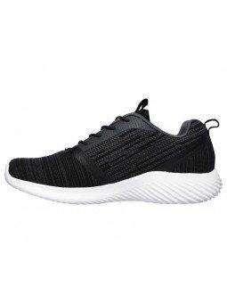 Comprar Zapatillas Skechers Bounder con cordón y plantilla memory foam, modelo 52504, color negro BLK, lateral exterior