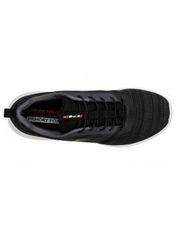 Comprar Zapatillas Skechers Bounder con cordón y plantilla memory foam, modelo 52504, color negro BLK, vista aerea