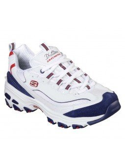 Comprar Skechers D´Lites March Forward, modelo 13148, color blanco marino y rojo WNVR