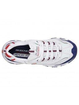 Comprar Skechers D´Lites March Forward, modelo 13148, color blanco marino y rojo WNVR, vista aerea