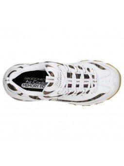Comprar Zapatillas Skechers D´Lites Quick Leopard, modelo 13158, color blnco leopardo WHLD, vista aerea