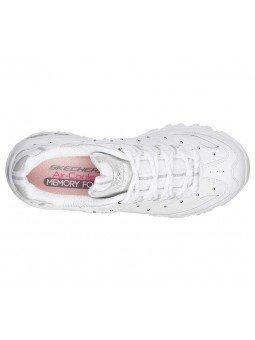 Comprar Zapatillas Skechers D´Lites Glamour, modelo 13087, color blanco WSL, vista aerea