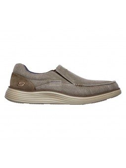 Comprar Online Zapato Mocasín Skechers Status 2.0 Mosent sin cordones, modelo 66014, color kaki KHK, vista lateral interior