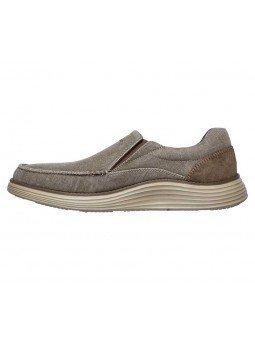 Comprar Online Zapato Mocasín Skechers Status 2.0 Mosent sin cordones, modelo 66014, color kaki KHK, vista lateral exterior