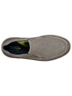 Comprar Online Zapato Mocasín Skechers Status 2.0 Mosent sin cordones, modelo 66014, color Kaki KHK, vista aerea
