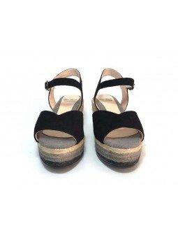 Comprar Alpargata Toni Pons Flora-A con plataforma y cierre con hebilla, color negro, vista frontal