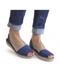 Comprar Alpargata Toni Pons Carácter Mediterráneo, modelo Espardeña Ella, color marino, sandalia plana, vista puestas