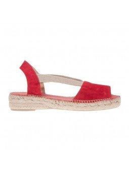 Comprar Alpargata Toni Pons Carácter Mediterráneo, modelo Espardeña Ella, color rojo, sandalia plana, vista lateral exterior