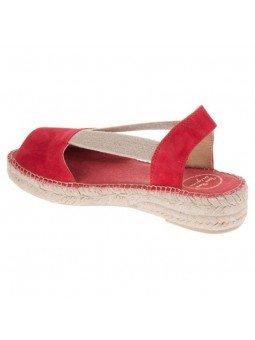 Comprar Alpargata Toni Pons Carácter Mediterráneo, modelo Espardeña Ella, color rojo, sandalia plana, lateral interior