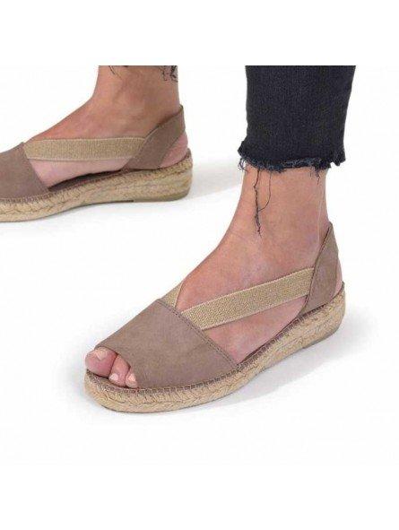 Comprar Alpargata Toni Pons Carácter Mediterráneo, modelo Espardeña Ella, color taupe, sandalia plana, vista puestas