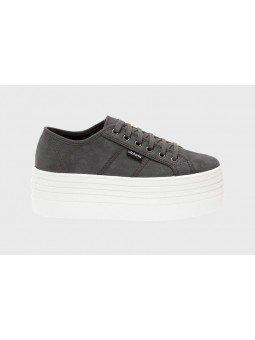 Comprar Online Zapas Victoria con plataforma, modelo 105105, color gris oscuro antracita, lateral exterior