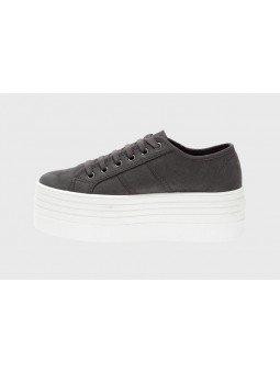 Comprar Online Zapas Victoria con plataforma, modelo 105105, color gris oscuro antracita, lateral exterior, lateral exterior