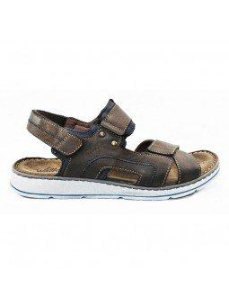 Comprar sandalia Walk&Fly de hombre, de piel, modelo 022 42880, color marrón marino TDM BLU, lateral exterior