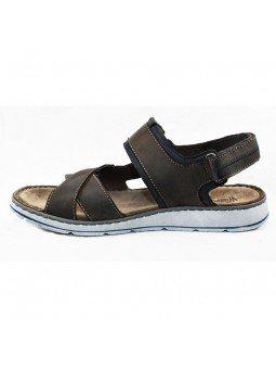 Comprar sandalia Walk&Fly de hombre, de piel, modelo 022 42880, color marrón marino TDM BLU, lateral interior