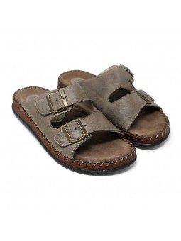 Comprar sandalia Walk&Fly tipo chancla, de hombre, en piel, modelo 963 40050, color marrón TDM