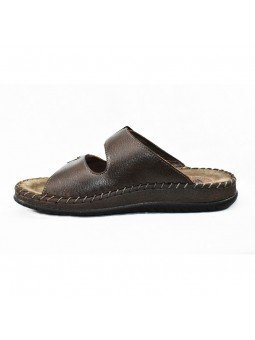 Comprar sandalia Walk&Fly tipo chancla, de hombre, en piel, modelo 963 40050, color marrón TDM, lateral interior