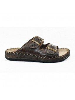 Comprar sandalia Walk&Fly tipo chancla, de hombre, en piel, modelo 963 40050, color marrón TDM, lateral exterior