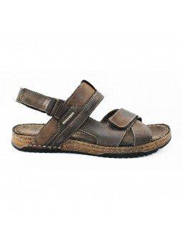Comprar sandalia Walk&Fly de hombre, de piel, modelo 963 40050, color marrón TDM, lateral exterior