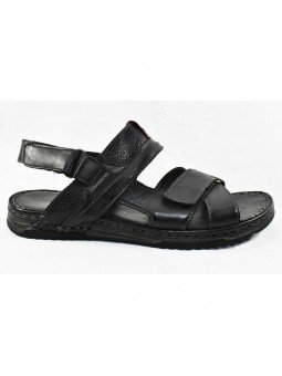 Comprar sandalia Walk&Fly de hombre, de piel, modelo 963 40050, color negro NERO, lateral exterior