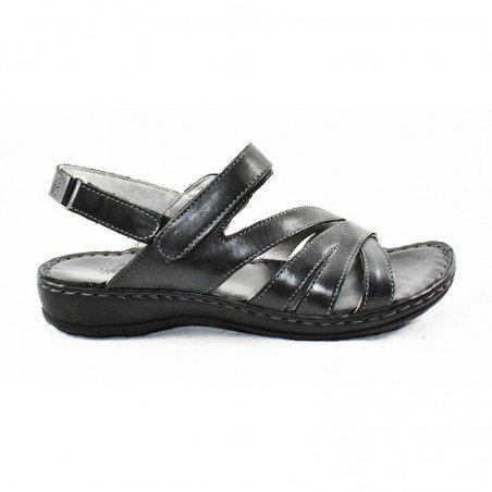 Comprar sandalia Walk&Fly de mujer, de piel, modelo 7325 16170, color negro NERO, lateral exterior