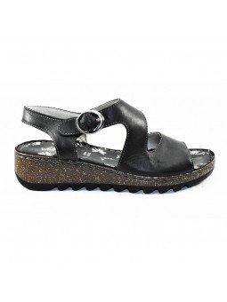 Comprar sandalia Walk&Fly de mujer con cuña, de piel, modelo 9371-36170, color negro NERO, lateral exterior