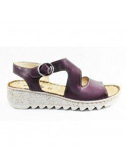 Comprar sandalia Walk&Fly de mujer con cuña, de piel, modelo 9371-36170, color violeta VIOLA , lateral exterior