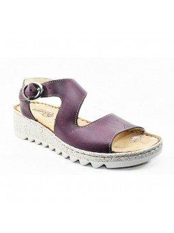 Comprar sandalia Walk&Fly de mujer con cuña, de piel, modelo 9371-36170, color violeta VIOLA