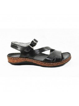 Comprar sandalia Walk&Fly de mujer plana, de piel, modelo 3861-35580, color negro NERO, lateral exterior